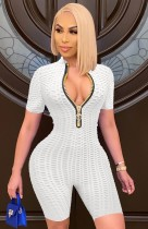Zomer witte wafel rits sexy bodycon rompertjes
