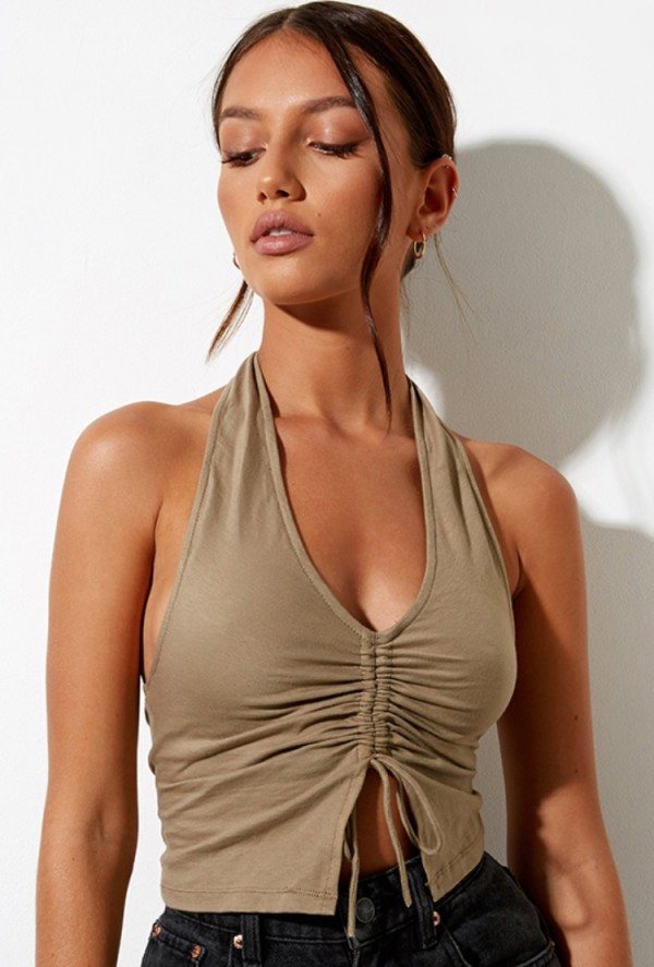 Summer Khaki Ruched Strings Halfter Crop Top