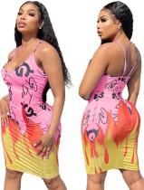 Summer Print Sexy Strap Bodycon Dress