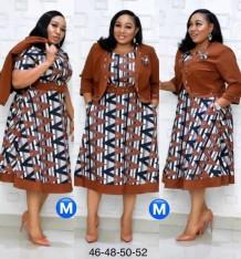 Летнее платье больших размеров с официальным принтом и блейзер для матери