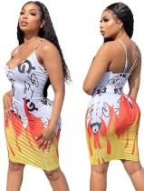 Sommer Print Sexy Strap Bodycon Kleid