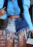 Shorts jeans com franja colorida de bloco de verão