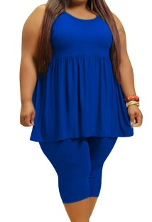 Летний повседневный синий расклешенный жилет больших размеров и узкие шорты, комплект из 2 предметов