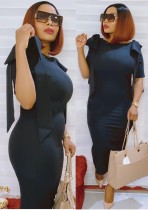 Sommer Mutter formale schwarze Rüschen Midi Kleid