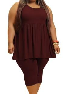 Летний повседневный бордовый жилет с пышной юбкой больших размеров и узкие шорты, комплект из 2 предметов