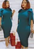 Vestido Midi formal para mãe de verão azul babados