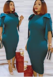 Sommer Mutter formale blaue Rüschen Midi Kleid