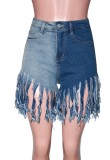 Shorts in denim con frange color block estivo