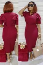 Sommer Mutter formale rote Rüschen Midi Kleid