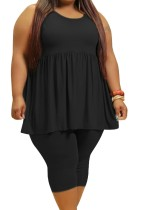 Conjunto verão plus size preto casual com ajuste e alargamento e shorts justos