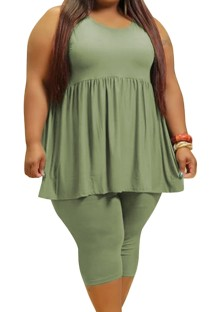 Летний повседневный зеленый расклешенный жилет больших размеров и узкие шорты, комплект из 2 предметов