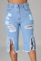 Summer Blue Knee-Length High Waist Ripped Fringe Denim Shorts