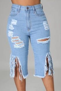 Pantaloncini di jeans con frange strappati a vita alta blu al ginocchio estivi
