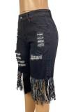 Summer Black Knee-Length High Waist Ripped Fringe Denim Shorts