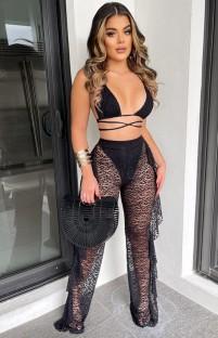 Set reggiseno e pantaloni sexy in pizzo nero estivo