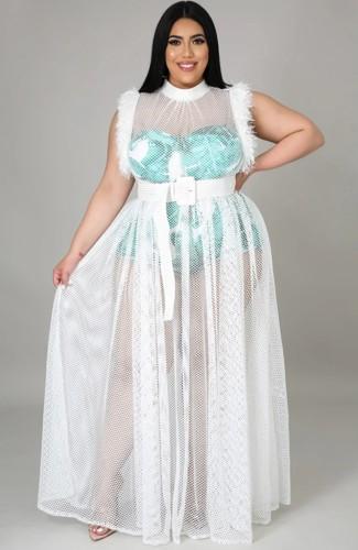 Robe de soirée longue sans manches avec patch en maille blanche et grande taille d'été