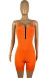 Pagliaccetti aderenti con cinturino arancione per sport estivi
