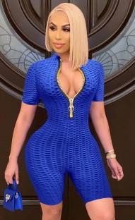 Сексуальные облегающие комбинезоны Summer Blue Waffle Zipper