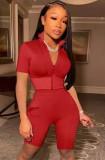 Conjunto de shorts e blusa com zíper apertado vermelho verão vermelho 2 peças