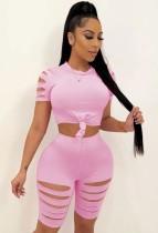 Conjunto de 2 peças de camisa e shorts rosa sexy rasgado para bodycon verão