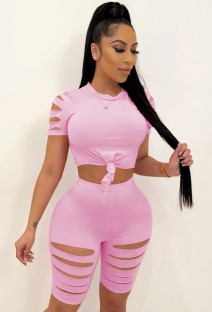 Summer Pink Sexy Ripped Bodycon Shirt and Shorts 2pc Set