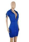 Vestido de verão casual com capuz azul com zíper