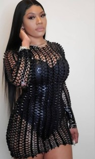 Vestido miniclube sexy metálico escuro oco de verão com mangas compridas