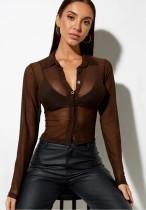 Blusa corta transparente sexy de chocolate de verano con mangas completas