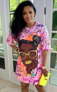 Летнее повседневное платье-рубашка в африканском стиле с круглым вырезом и принтом