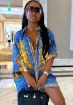 Vestido de blusa azul africana con estampado casual de verano