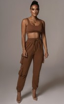 Summer Sports Brown Bra and Sweatpants 2pc Set