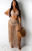 Summer Khaki Crochet Halter Crop Top y Falda con flecos 2pc Cover-Up