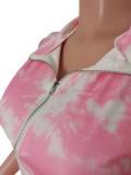 Summer Casual Tie Dye Zipper Crop Top and Shorts 2pc Set
