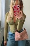 Blusa curta transparente sexy verde verão com mangas compridas