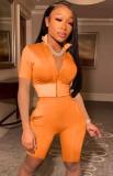 Conjunto de shorts e blusa com zíper apertado laranja verão laranja 2 peças