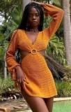 Minivestido Summer Orange Hollow Out O-ring de crochê em V profundo com mangas compridas