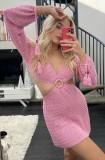 Minivestido verão rosa oco de crochê em O-ring de crochê em V profundo com mangas compridas