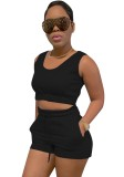 Summer Casual Black Short Vest and Sweat Shorts 2pc Set