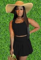 Летний повседневный черный короткий жилет и плиссированная юбка с высокой талией, комплект из 2 предметов