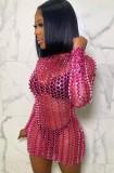 Vestido miniclube sexy metálico oco rosa verão com mangas compridas