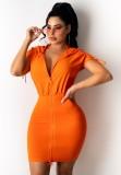 Vestido de verão casual laranja com capuz com zíper
