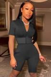 Conjunto de shorts curtos e blusões pretos sexy com zíper apertado 2 peças