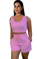 Summer Casual Pink Short Vest and Sweat Shorts 2pc Set