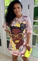 Vestido camisero con cuello en O con estampado informal de verano en África