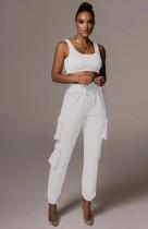 Summer Sports White Bra and Sweatpants 2pc Set