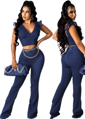 Summer Sexy Blue Denim Crop Top and Jeans Trousers 2pc Set