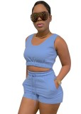 Summer Casual Blue Short Vest and Sweat Shorts 2pc Set