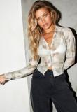Blusa curta sexy tie dye verão com mangas compridas