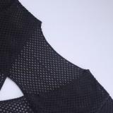 Minivestido verão preto oco fora do O-ring de crochê em V profundo com mangas compridas