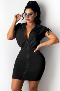 Летнее повседневное черное платье с капюшоном на молнии